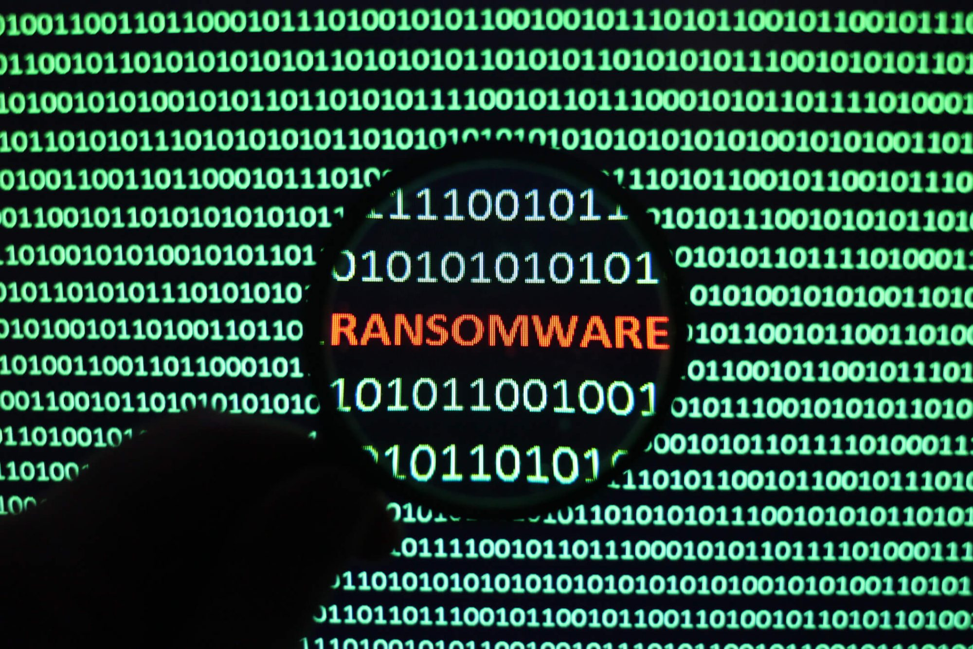 Ransomware image - in magnifying glass