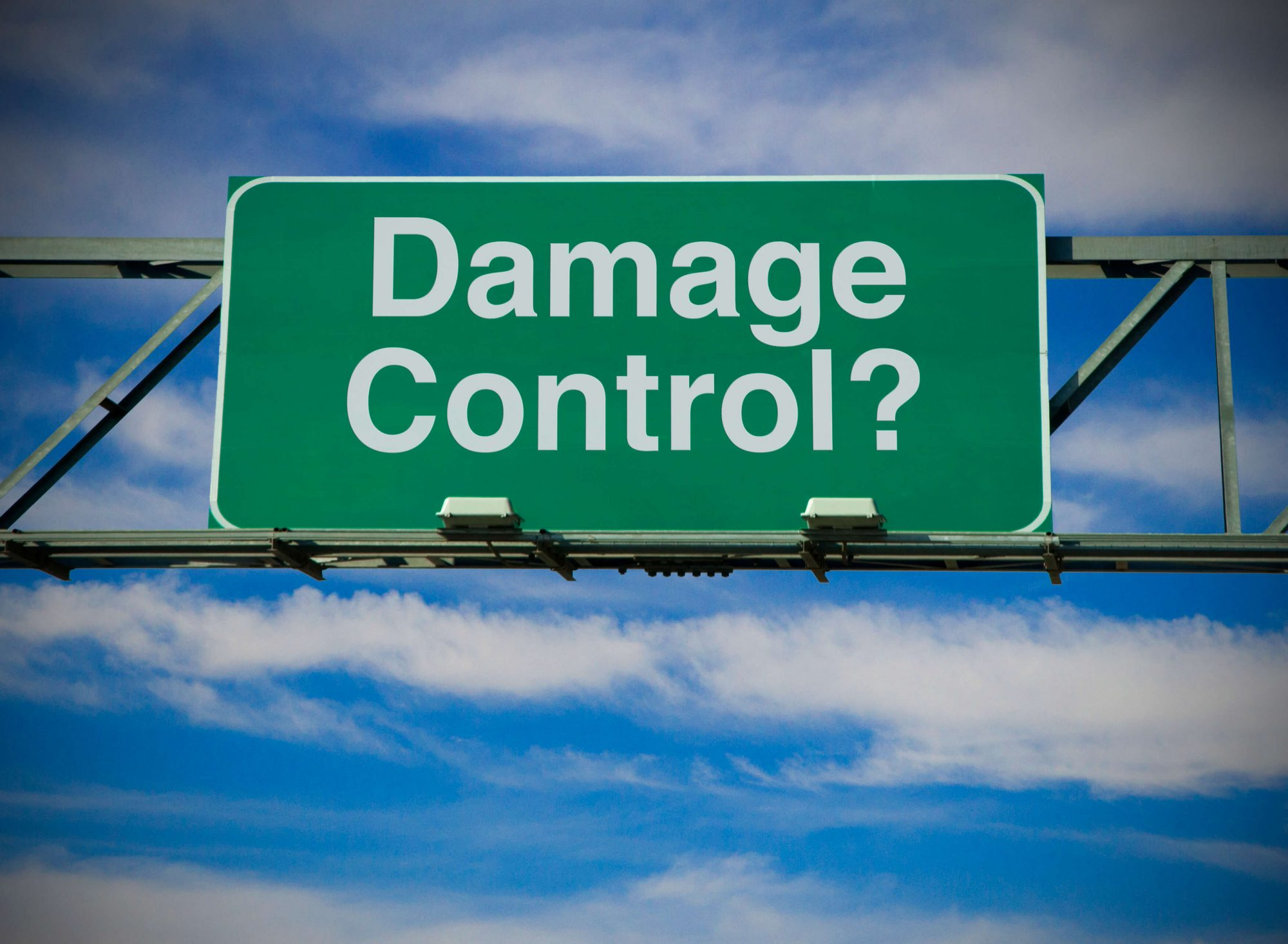 Cyber insurance - damage control sign