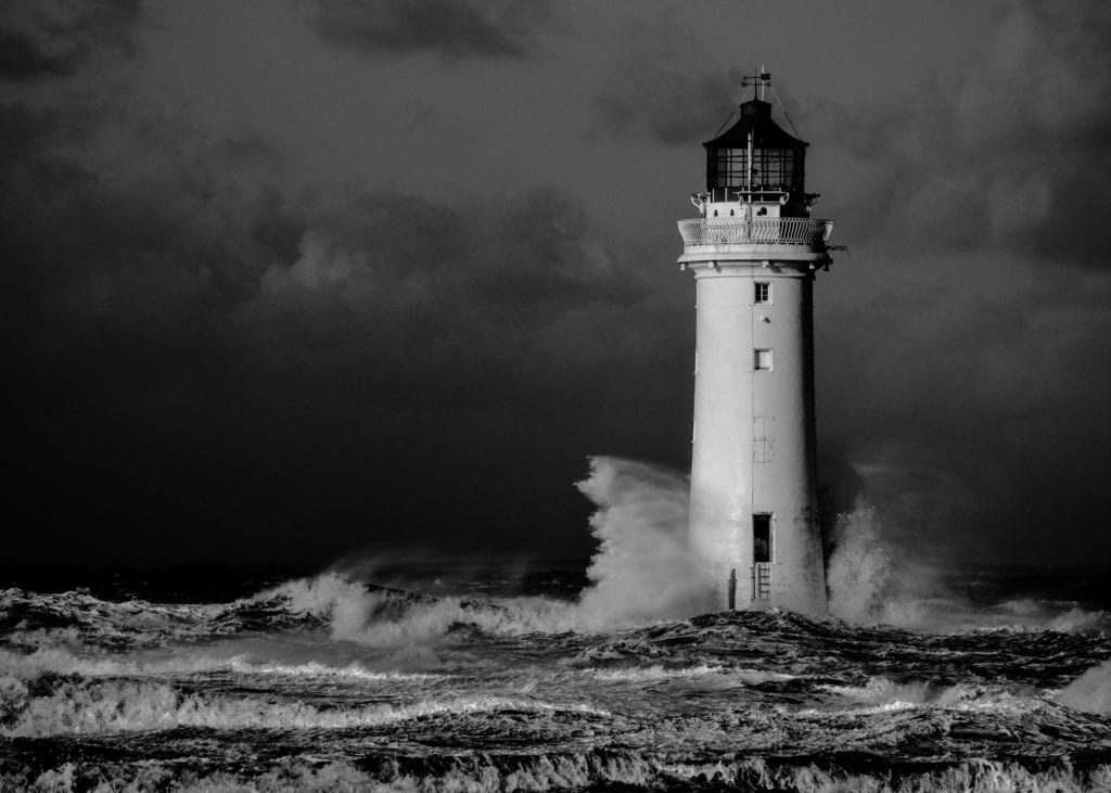 Lighthouse with waves to show resilience